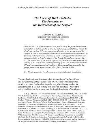 The Focus of Mark 13:24-27 - Institute for Biblical Research