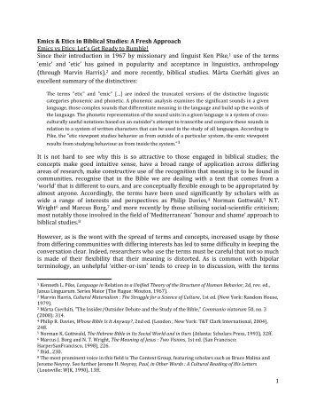 1 Emics & Etics in Biblical Studies - Institute for Biblical Research