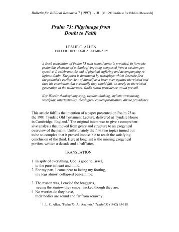 Pilgrimage from Doubt to Faith - Institute for Biblical Research