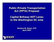 Public-Private Transportation Act (PPTA) Proposal Capital Beltway ...
