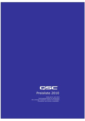 Preisliste 2010 - audio concepts