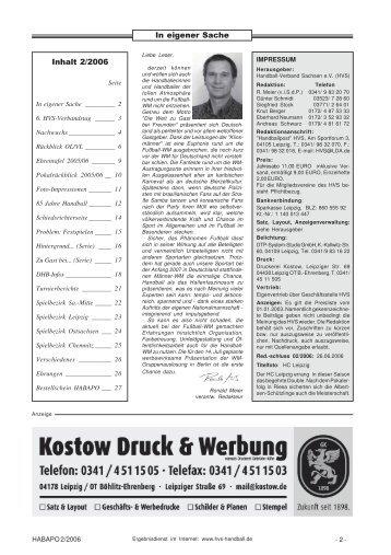 In eigener Sache Inhalt 2/2006 - Handballpost