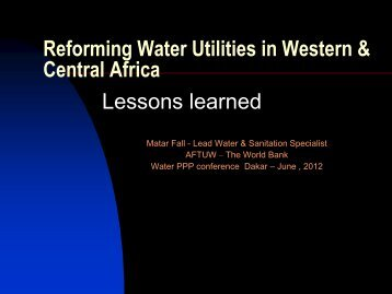 Reforming Water Utilities in Western & Central Africa