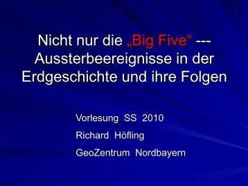 """Nicht nur die """"Big Five"""" --- Aussterbeereignisse in der Erdgeschichte ..."""