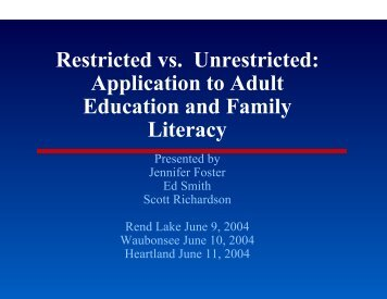 Restricted vs. Unrestricted: Application to Adult Education and ...