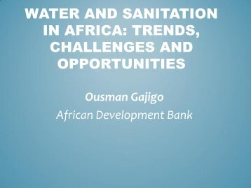 Water and Sanitation in Africa: Status, Challenges and Opportunities