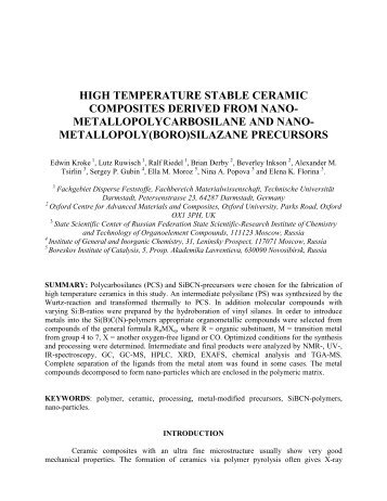 high temperature stable ceramic composites derived from ... - ICCM
