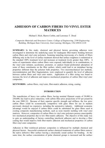 adhesion of carbon fibers to vinyl ester matrices - ICCM