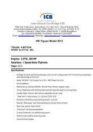 VW Tiguan Model 2013 - ICB - International Car Bridge
