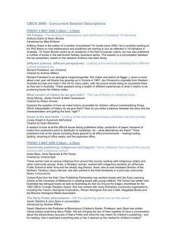 CBCA 2008 - Concurrent Session Descriptions