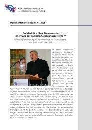 """""""Solidarität – über Steuern oder innerhalb der sozialen ... - ICEP"""