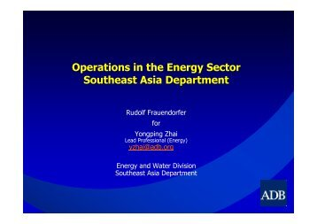 Operations in the Energy Sector Southeast Asia Department - Icex