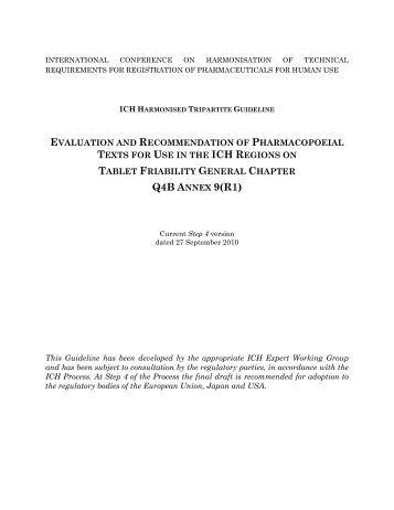 Q4B Annex 9(R1) - ICH