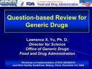 US FDA's Question-based Review for Generic Drugs - ICH