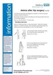 Advice after hip surgery - ICID - Salisbury NHS Foundation Trust