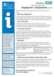 Angiogram / Angioplasty - ICID - Salisbury NHS Foundation Trust