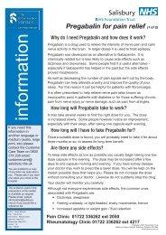Pregabalin for pain relief - ICID - Salisbury NHS Foundation Trust