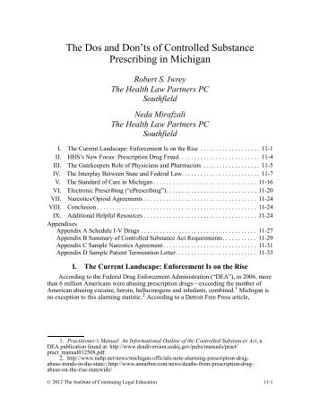 The Dos and Don'ts of Controlled Substance Prescribing in Michigan