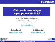 Obliczenia równoległe w programie MATLAB - ICM