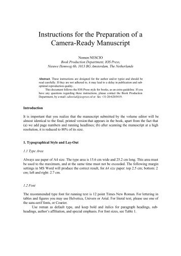 Instructions for the Preparation of a Camera-Ready ... - ICMCC
