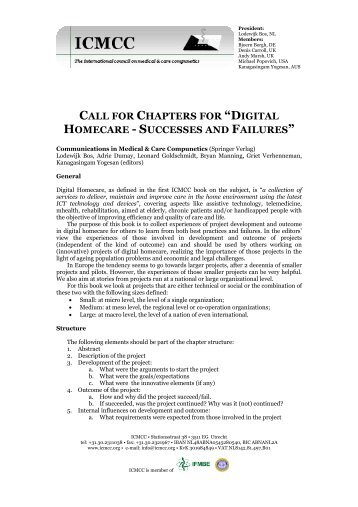 """call for chapters for """"digital homecare - successes and ... - ICMCC"""