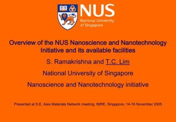 Overview of the NUS Nanoscience and Nanotechnology Initiative ...
