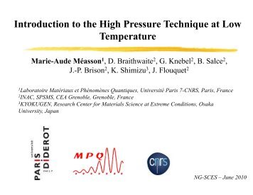 Introduction to the High Pressure Technique at Low Temperature