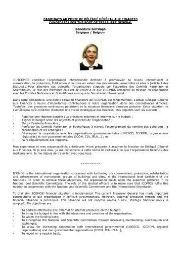 CANDIDATS AU POSTE DE DÉLÉGUÉ GÉNÉRAL AUX ... - Icomos