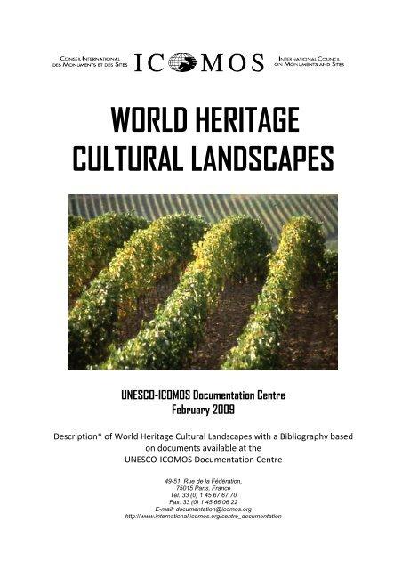 World Heritage Cultural Landscapes Icomos