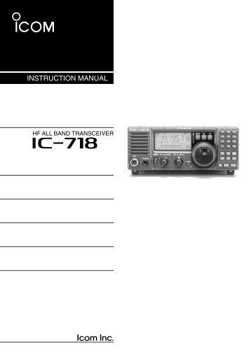IC-718 Instruction Manual - ICOM Canada