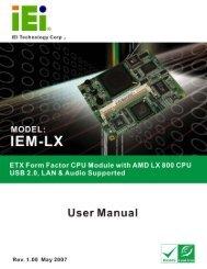 IEM-LX-800 ETX CPU Module Page 1 IEM-LX-800 CPU Module - iEi