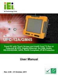 UPC-12A/GM45 Panel PC User Manual - iEi