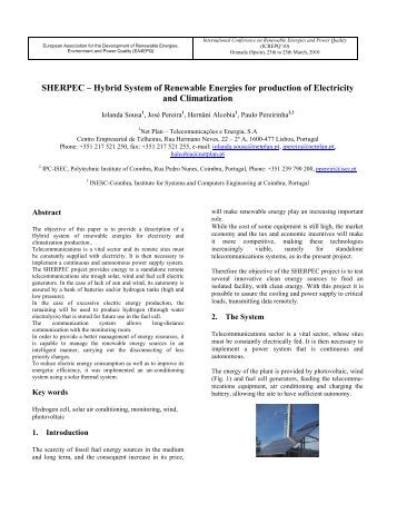 SHERPEC – Hybrid System of Renewable Energies for ... - Icrepq.com