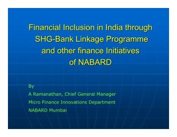 Financial Inclusion in India through SHG-Bank Linkage ... - icrier
