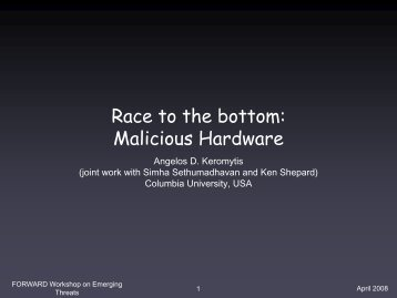 Race to the bottom: Malicious Hardware - ict-forward