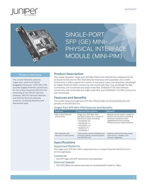 1-Port SFP Mini-Physical Interface Module