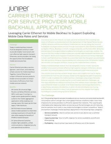 Carrier Ethernet Solution for Service Provider ... - Juniper Networks