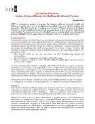 Linking Adolescent Reproductive Health and Livelihood ... - ICRW