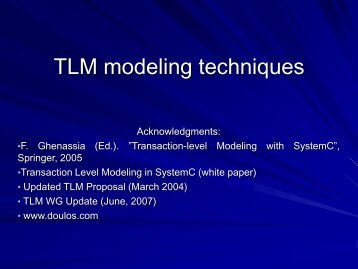 TLM Modeling Techniques