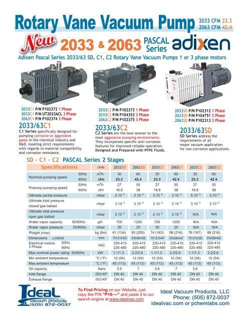 Alcatel Adixen 2033 2063 Rotary Vane Vacuum Pump Accessory
