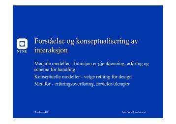 Konseptuell modell og metaforbruk for prosjektet (Trond Are) - NTNU