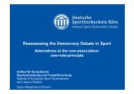 Reassessing the Democracy Debate in Sport - IDHEAP