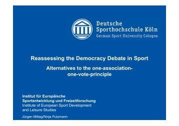 Reassessing the Democracy Debate in Sport - IDHEAP