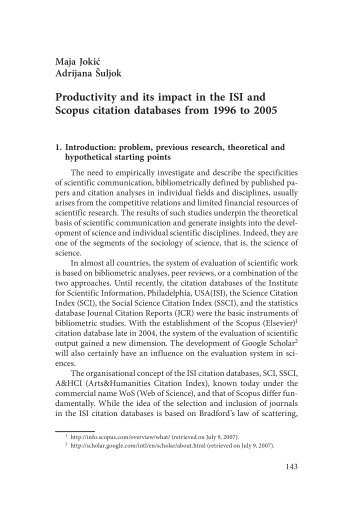 Productivity and its impact in the ISI and Scopus citation databases ...