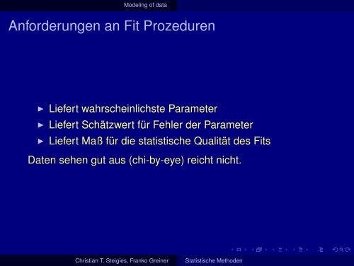 Statistische Methoden - Institut für Experimentelle und Angewandte ...