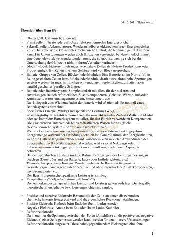 1 Übersicht über Begriffe • Oberbegriff: Galvanische Elemente ...