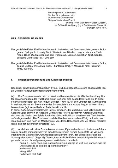DER GESTIEFELTE KATER Der gestiefelte Kater. Ein ... - IDF