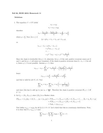 Fall 08, IEOR 263A Homework 11 Solutions 1. The equation π = π P ...