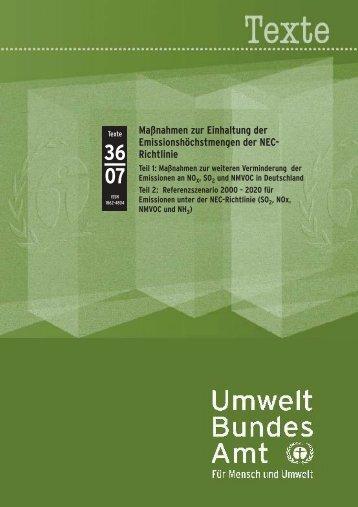 Maßnahmen zur Einhaltung der Emissionshöchstmengen der NEC ...