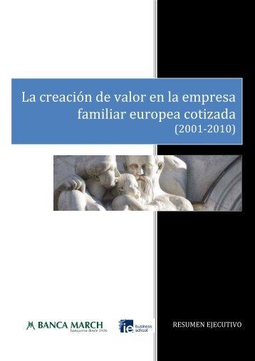La creación de valor en la empresa familiar europea cotizada - IE